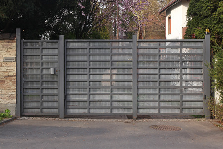 grey modern gate Stock Photo