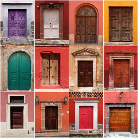 Collection of colorful mexican doors Stockfoto