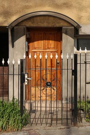 Wooden door and wrought gate photo