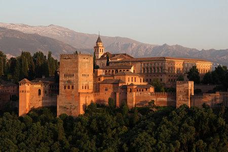 Alhambra during sunset, Granada, Spain