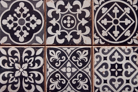 closeup of typical spanish tiles