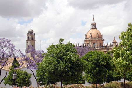 view on cupola of The Cathedral in Jerez de la Frontera, Spain  photo