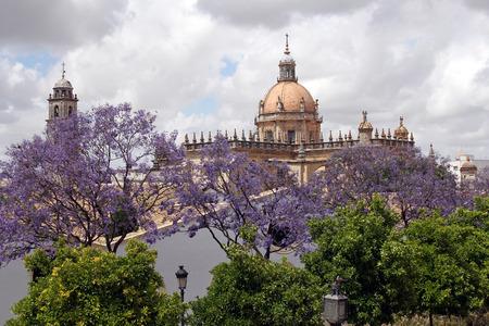 uitzicht op de koepel van de kathedraal in Jerez de la Frontera, Spanje Stockfoto