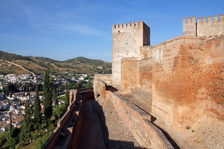 alcazaba: The Alcazaba, fortress- the oldest part of the Alhambra, Granada