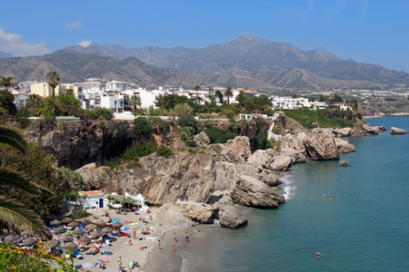 burriana beach: Nerja famous resort on Costa del Sol, Malaga, Spain