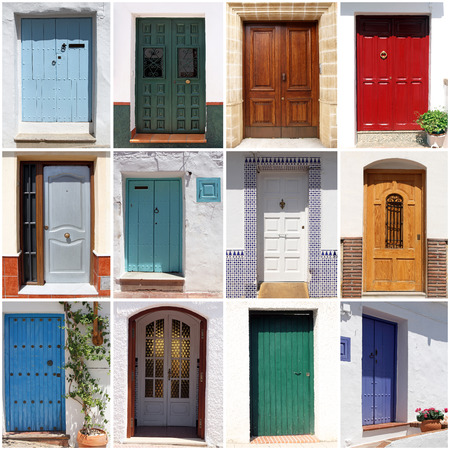Collage Of Colorful Spanish Front Doors Stock Photo   30445362