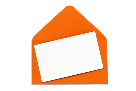 enveloped: orange open enveloped with blank card  Stock Photo