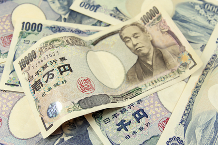 일본 엔 지폐의 힙에 선택적 포커스
