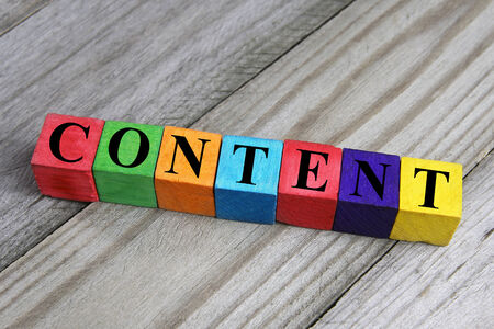 word content on wooden cubes photo