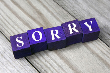 concept of apology, sorry word on wooden cubes photo