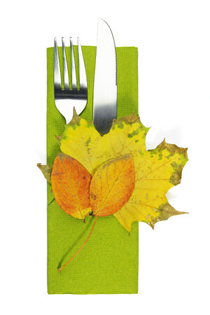 seeting: autumn table seeting with leaves