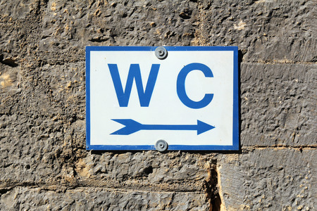 excrete: toilet sign on old stone wall