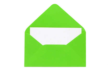 enveloped: green open enveloped with blank card Stock Photo
