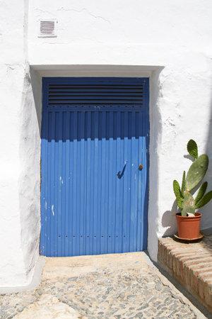 puerta de metal: puerta de metal azul y cactus en olla de barro