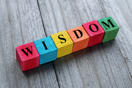 concept of wisdom word on colorful wooden cubes