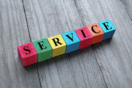support services: word service on colorful wooden cubes Stock Photo