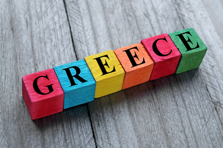 greek alphabet: word Greece internet on colorful wooden cubes