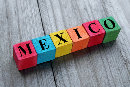 word Mexico on colorful wooden cubes