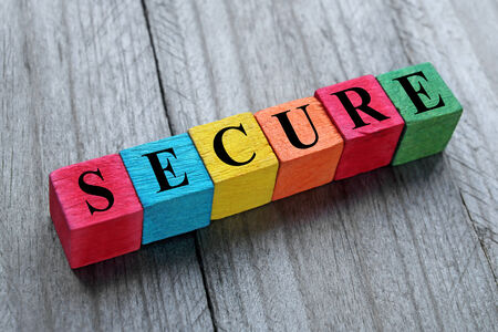 privy: word secure on colorful wooden cubes