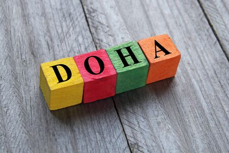 doha: word Doha on colorful wooden cubes