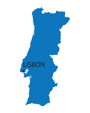 blue map of Portugal
