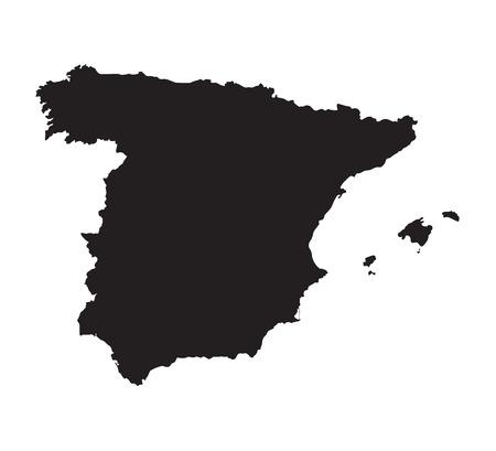 kingdom of spain: black map of Spain