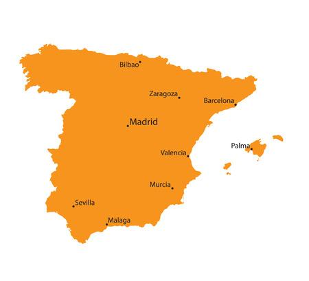 bilbao: orange map of Spain