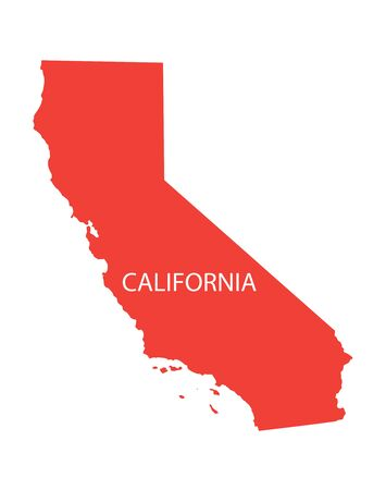 red map of California Vector
