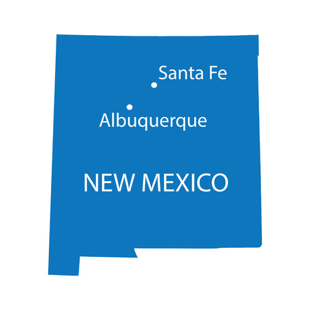 extensive: blue map of New Mexico