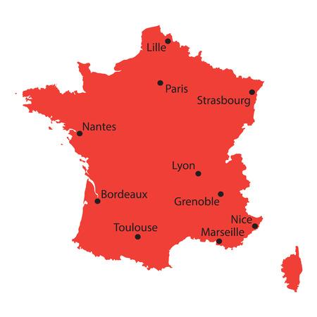 france map: red map of France Illustration