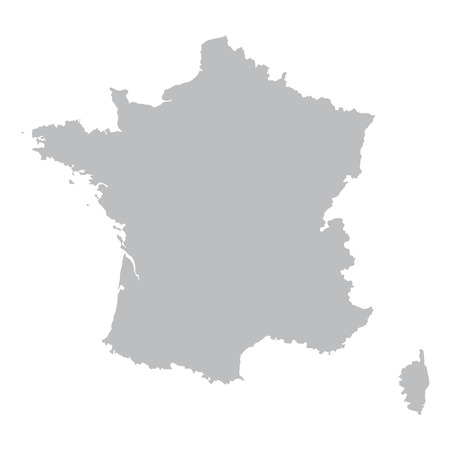 corsica: grey map of France