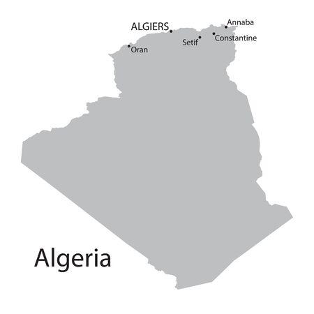 berber: grey map of Algeria Illustration