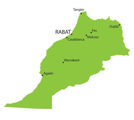 berber: green map of Morocco Illustration