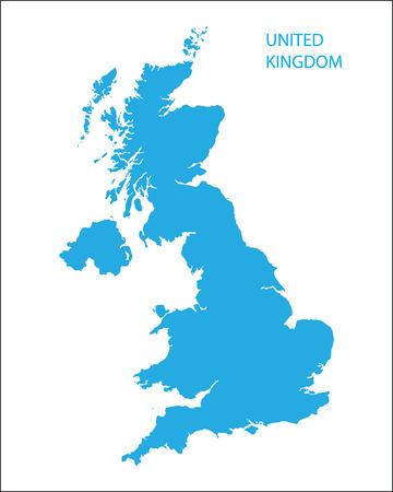 Blu mappa del Regno Unito Archivio Fotografico - 36372446