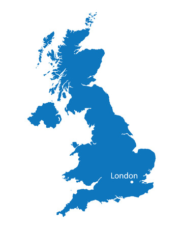 blue map of United Kingdom 矢量图像