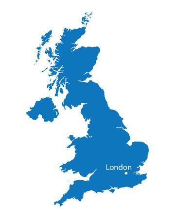 blue map of United Kingdom Illustration