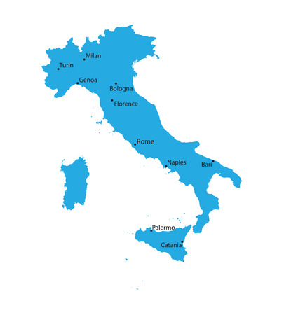 naples: blue map of Italy with indiaction of biggest cities