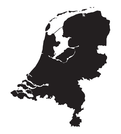rotterdam: black map of Netherlands