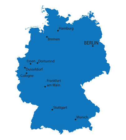 frankfurt germany: blue map of Germany with indication of largest cities