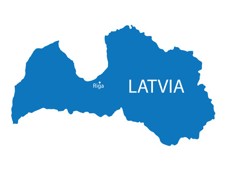 latvia: blue map of Latvia Illustration