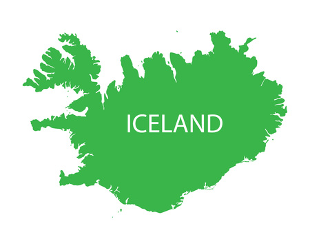 iceland: green map of Iceland