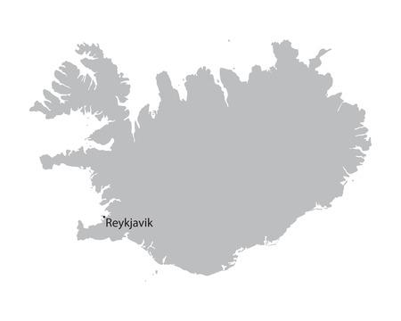 grey map of Iceland 矢量图像