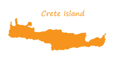 orange  map of Crete Illustration