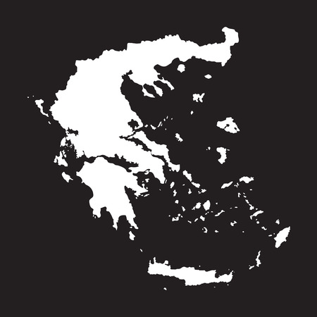 black and white map of Greece