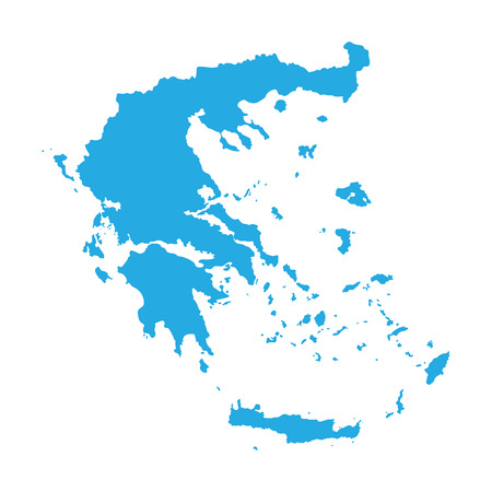 blue map of Greece Illustration