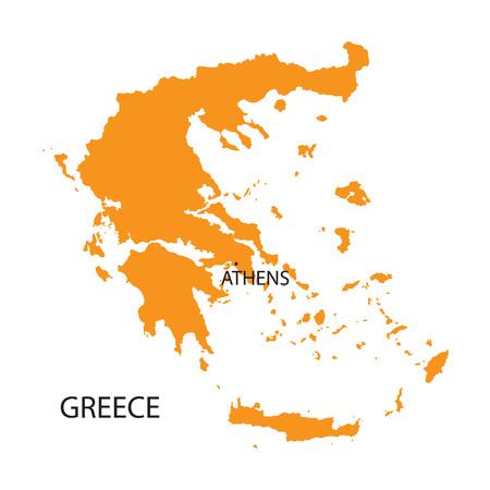 orange map of Greece Vector