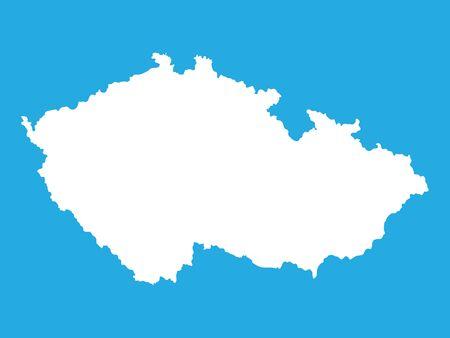 the czech republic: white map of Czech Republic Illustration