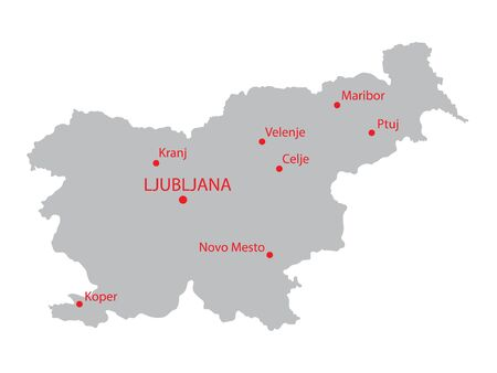 largest: grey map of Slovenia with indicationa of largest cities