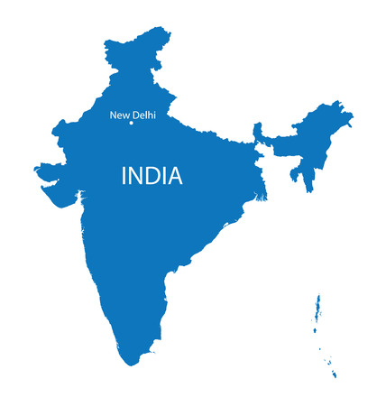map of india: blue map of India