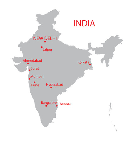 largest: grey map of India with indication of largest cities